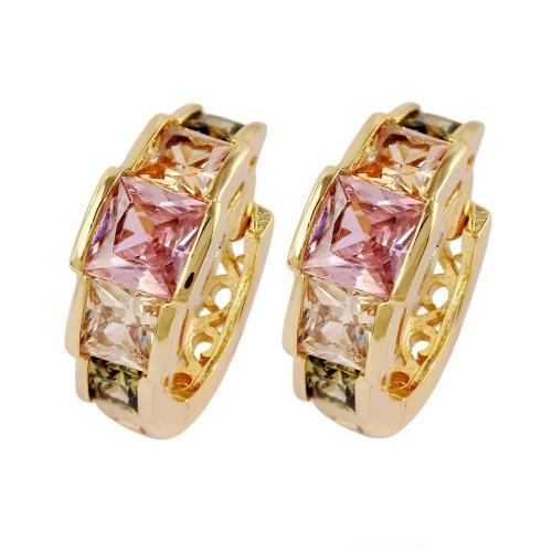 Buy Fashion Luxurious Shining 18K Gold Plated Crystal Rhinestone Hoop Earring Jewelry Women Girl Bride Wedding Party