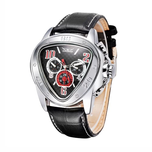 Buy WINNER Fashion Cool Triangle Case Automatic Men Mechanical Watch Leather Strap Week/Date/24H Sub-Dials Wristwatch