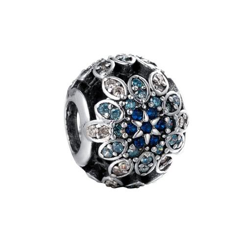 Buy Romacci S925 Sterling Silver Luxury Flower Charm Bead Shining CZ Diamond 3mm Bracelet Bangle DIY Elegant Fashion Women Jewelry Gift Accessory