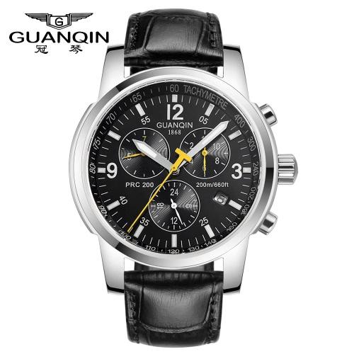 Buy GUANQIN Brand New Luminous Automatic Man Mechanical Watch Big Dial Self-Winding Business Men Wristwatch