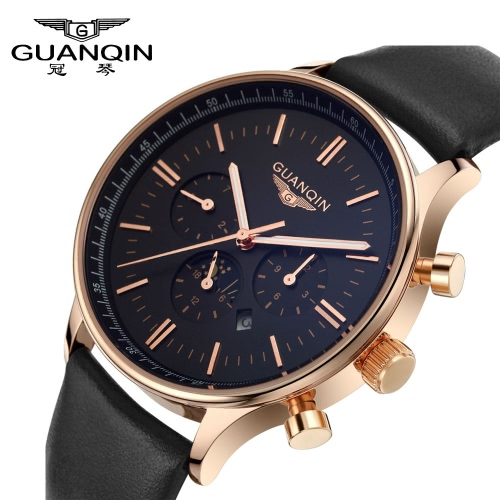 Buy GUANQIN Brand New Luxury Fashion Man Quartz Watch Big Dial Sport Casual Men Wristwatch Dual Calendar