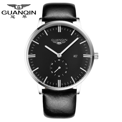 Buy GUANQIN Fashion Brand New Luxury Man Quartz Watch Big Dial Leather Strap Sport Casual Men Wristwatch