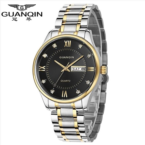 Buy GUANQIN 2016 New Simple Top Brand Luxury Quartz Watches Men Big Dial Steel Calendar Business Watch