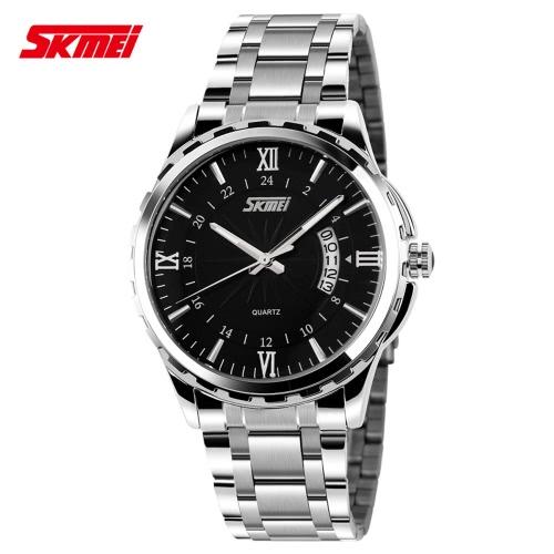 Buy SKMEI 2016 Brand Luxury Fashion Stainless Steel Men Quartz Watch Luminous Water-resistant Male Man Casual Business Wristwatch Calendar