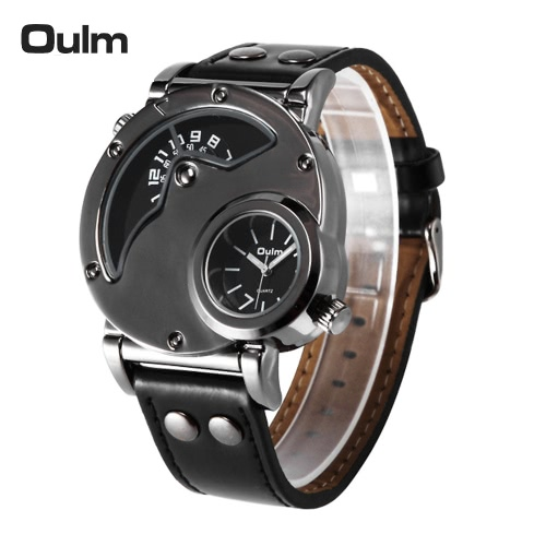 Buy Oulm Brand Fashion Cool Dual Time Display Men Quartz Watch PU Leather Man's Casual Wristwatch 3ATM Water-resistant