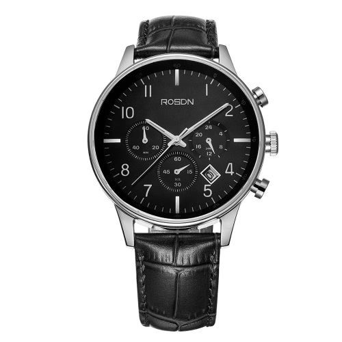 Buy ROSDN Top Brand Fashion Genuine Leather Quartz Menu2019s Casual Wristwatch Chronograph Sapphire 50M Water-resistant Calendar Business Dress Watch Man + 3 Sub-dials & Box Set