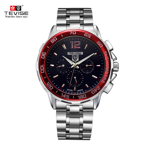 Buy TEVISE New Arrivals Men Luxury Full Steel Discolored Glass Military Style Automatic Mechanical Unisex Watch Top Brand Multi-fuction Man Watches Self-winding Wristwatch 3 Small Dials