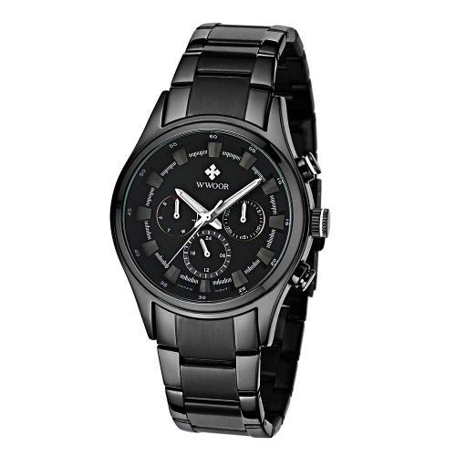 Buy WWOOR Fashion Multi-function Luminous Quartz Analog Mens Watches Water-proof Business Man Wristwatch 24H/Week/Date Display + Watch Box