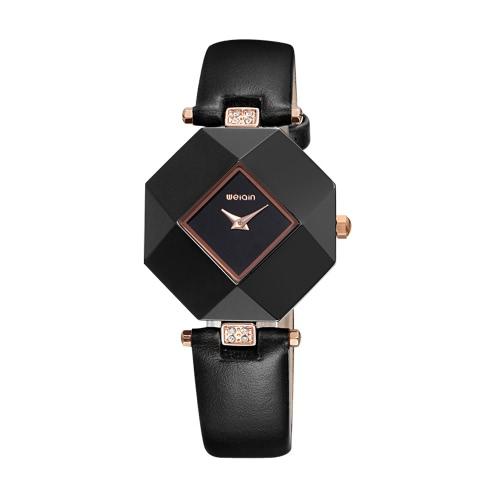 Buy WEIQIN Fashion Luxury Rose Gold Quartz Ceramic Ladies Watches Geometric Dial Diamond Women Casual Bracelet Wristwatch Feminio Relojes
