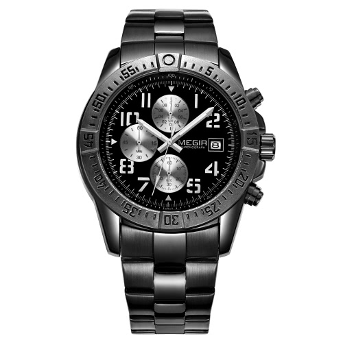 Buy MEGIR New Men's Business Casual Quartz 3ATM Water Resistant Watches Luxury Brand Wristwatches Military Men Clock 2030 Male Sport Chronograph Fashion Watch