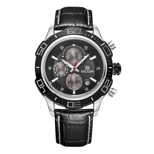 Buy MEGIR New Style Mens Chronograph Luminous Quartz Watches Fashion Mans Analog Round Shiny Dial Top Brand Luxury Wristwatch Men 2019