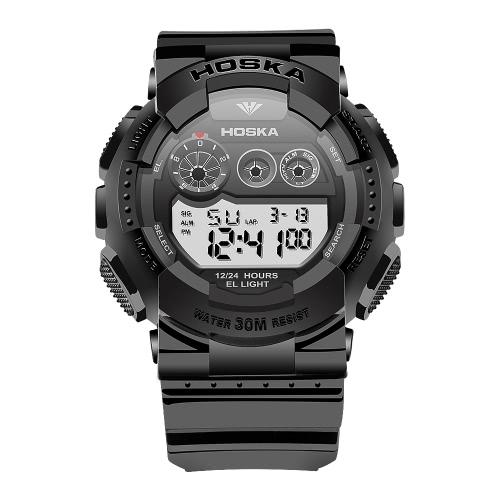 Buy HOSKA 2017 New Multi-Function LED Digital Men Sports Military Watch 30M Water-Proof Electronic Man Alarm EL SIG 4 Colors + Box