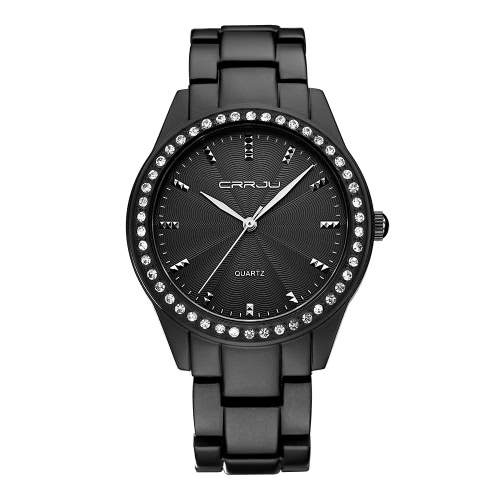 Buy CRRJU Fashion Diamond Luxury Brand Steel Women Watches Quartz Analog 30M Water-Resistant Ladies Casual Wristwatch + Box