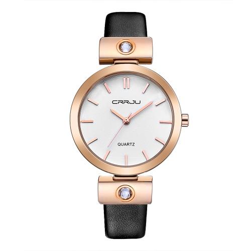 Buy CRRJU Fashion Diamond Luxury Women Casual Watches Quartz Analog 30M Water-Resistant Ladies Bracelet Wristwatch Gold + Box