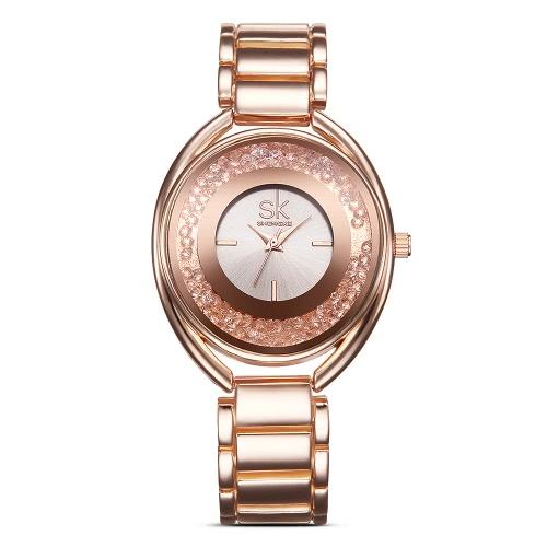 Buy SK Brand Luxury Rose Gold Steel Women Watches Diamond Quartz Analog 3ATM Water-resistant Ladies Casual Wristwatch Feminio Relogio