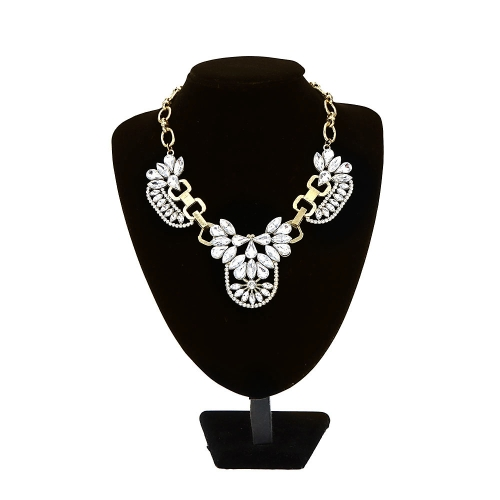 Fashion Trendy Vintage Retro Clear Crystal Cluster Bubble Necklace Petal Rhinestone Bib Choker Flower Collar Jewelry Drop Pendant Accessory