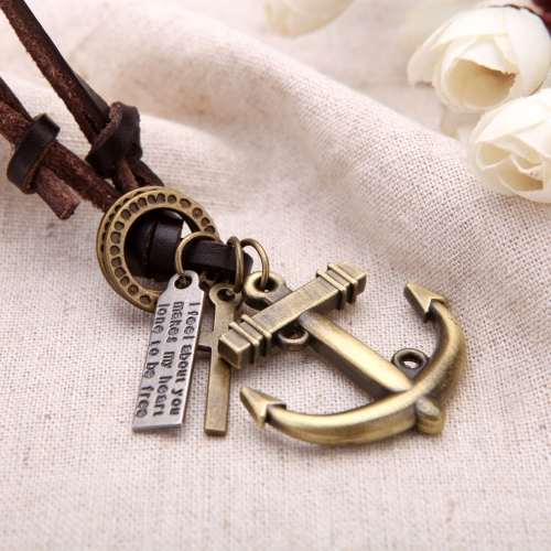 Buy Fashion Vintage Retro Punk Cross Anchor Pendants Genuine Leather Collar Necklace Jewelry Accessory