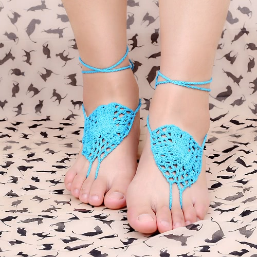 Blue Cotton Thread Crochet Foot Chain Bracelet Anklet Netlike Pattern Beach Barefoot Sandal