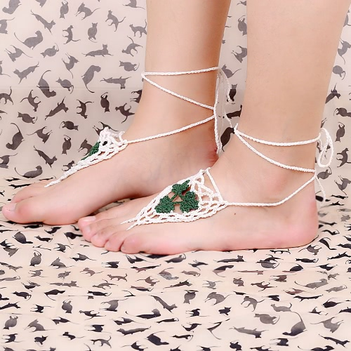 Cotton Thread Crochet Foot Chain Bracelet Anklet Maple Leaf Triangle Beach Barefoot Sandal Purple
