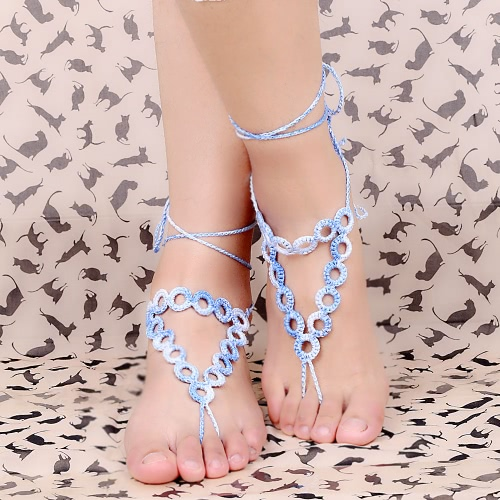 Gradient Color Cotton Thread Crochet Foot Chain Bracelet Anklet Geometric Beach Barefoot Sandal