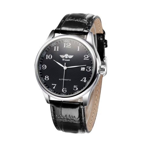 Buy WINNER Simple Self-winding Automatic Mechanical Watch Comfortable Leather Strap Fantastic Unisex Wristwatch Calendar