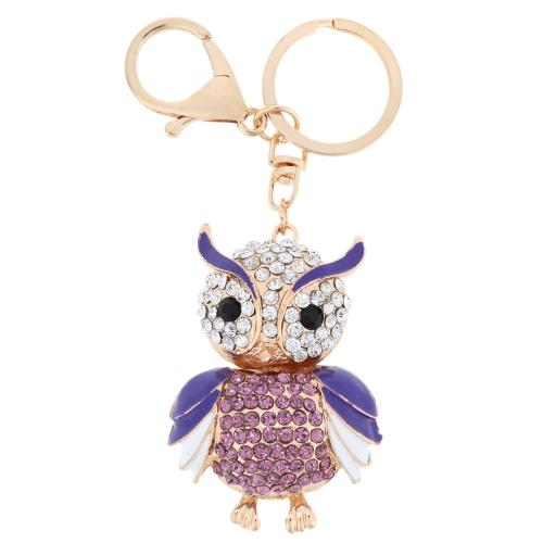 Fashional Jewelry Hollow Alloy Vintage Shinning Rhinestone Owl Pendant Key Ring Key Chain от Tomtop.com INT