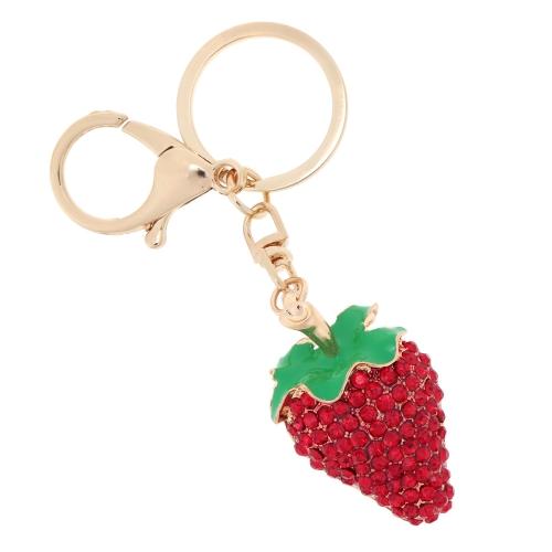 Fashional Jewelry Hollow Shinning Rhinestone Strawberry Pendant Key Ring Key Chain от Tomtop.com INT
