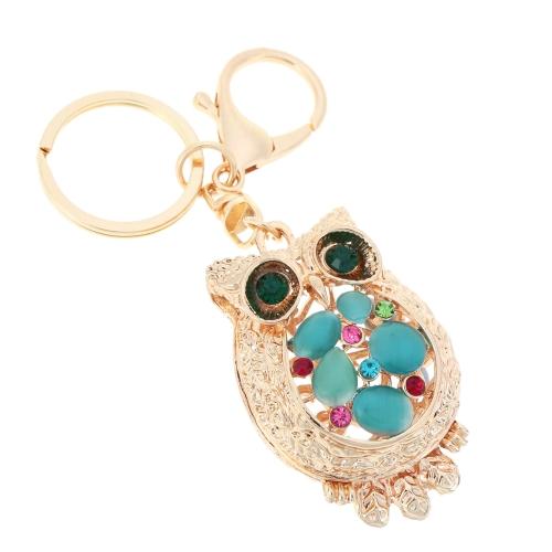 Fashional Jewelry Hollow Colorful Shinning Rhinestone Aureate Owl Pendant Key Ring Key Chain от Tomtop.com INT
