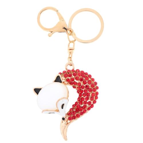 Fashional Jewelry Hollow Shinning Rhinestone Fox Pendant Key Ring Key Chain от Tomtop.com INT