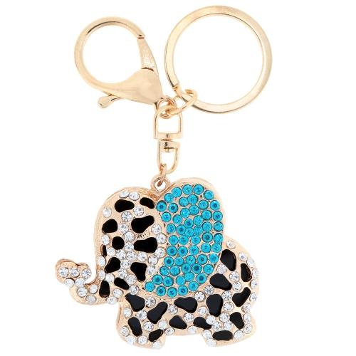 Fashional Jewelry Hollow Shinning Rhinestone Aureate Elephant Pendant Key Ring Key Chain от Tomtop.com INT