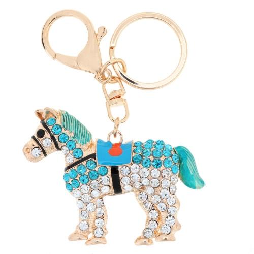 Fashional Jewelry Hollow Shinning Rhinestone Aureate Horse Pendant Key Ring Key Chain от Tomtop.com INT