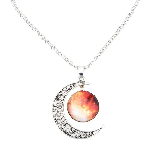 Buy Fashion Jewelry Retro Hollow Moon Crescent Pendant Silver Chain Cabochon Galaxy Necklace Women Girls