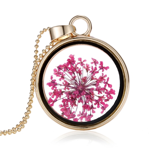 Buy Fashion New Jewelry Romantic Transparent Crystal Glass Round Floating Locket Dried Flower Plant Specimen Golden Pendant Chain Necklace Women Girls
