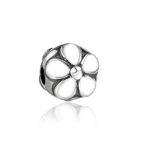 Romacci Daisy Enameled Clip Bead S925 Sterling Silver for 3mm European Charm Bracelet DIY Women Jewelry от Tomtop.com INT