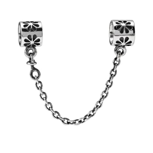 Romacci S925 Silver Safety Chain Stopper Bead with Daisy For European Charm Bracelet DIY Women Jewelry от Tomtop.com INT