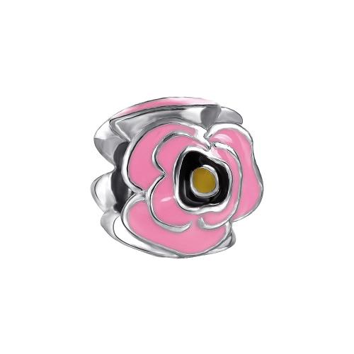 Romacci Pink Rose Enamel Bead S925 Sterling Silver for European Charm Bracelet DIY Women Jewelry от Tomtop.com INT