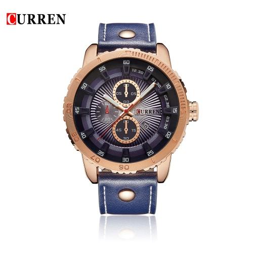 Buy CURREN 2016 Brand Fashion Mens' Quartz Watches 30M Water-resistant PU Leather Casual Sports Man Wristwatch W/ Calendar Watch