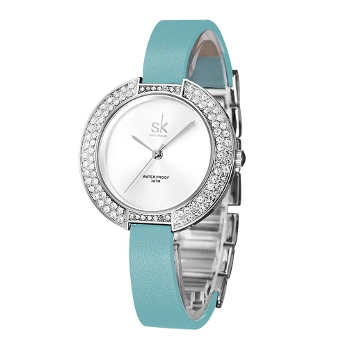 Buy SK 2017 Fashion Luxury Diamond Quartz Women Watches 3ATM Water-Resistant Ladies Casual Wristwatch PU + Steel Strap Bracelet Watch