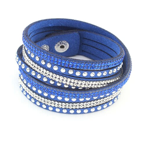 Buy Gothic Women Fashion Multilayer Wrap Crystal Leather Wide Wristband Cuff Bangle Bracelet Punk Jewelry