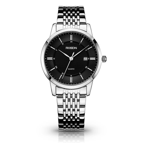 Buy ROSDN 2016 Authentic Luxury Brand Fashion Watches Business Men Waterproof Dress Women Genuine Leather Belt Steel Quartz Watch Casual Couples Wristwatch & Box + Strap Link Pin Remover