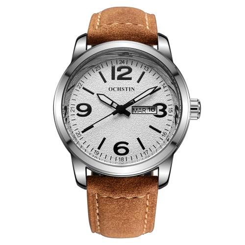 Buy OCHSTIN Genuine Leather Strap Stylish Quartz Watch Excellent 3ATM Water Resistant Man Wristwatch Calendar Week