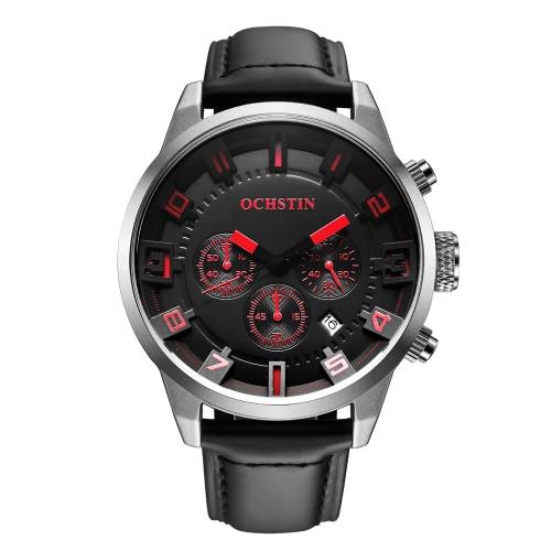 OCHSTIN 3ATM Water Resistant Men Genuine Leather Strap Analog Quartz Watch Excellent Man Wristwatch with Calendar