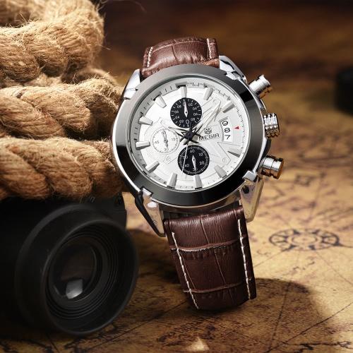 Buy Megir Branded New Fashion Man Watch Genuine Leather Band 3 Small Dials Quartz Wristwatch Analog Display Date Chronograph Black/Brown Relogio Masculino