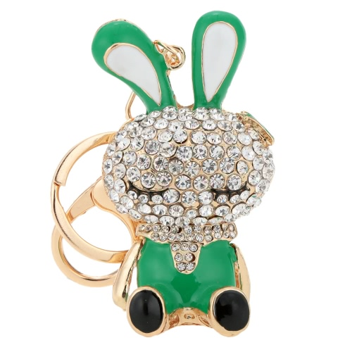 Buy Lovely Rhinestone Crystal Rabbit Bunny Animal Charm Pendant Car Key Chain Keyring Bag Purse Gift