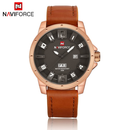 NAVIFORCE Unique 3D Face Man Watch 3ATM Water Resistant Genuine Leather PU Watchband Leisure Army Military Wristwatch with Date/Weeks Display