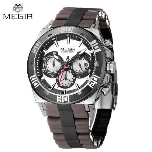 MEGIR Silicone Strap Quartz Man Wristwatch Excellent Analog Watch with Calendar and Sub-dial