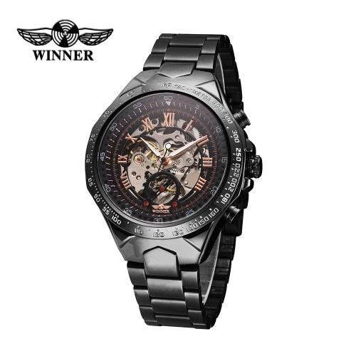 Buy WINNER Men Automatic Mechanical Watch Big Dial Self-winding Business Skeleton Hollowed-out Wristwatch