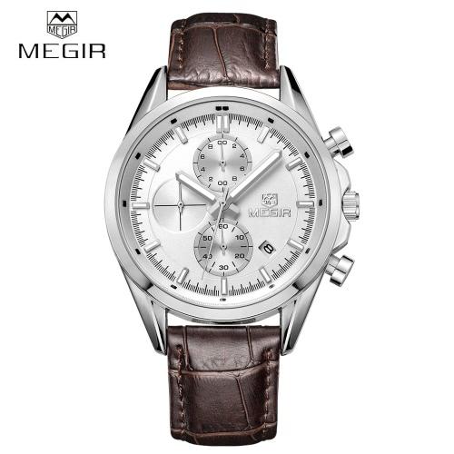 MEGIR 3ATM Water Resistant Analog Man Wristwatch PU Watchband Quartz Watch with Sub-dial Date Display