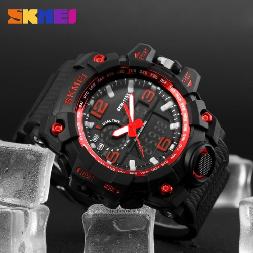 Buy SKMEI New 2016 Luxury Brand LED Military Waterproof Wristwatch Fashion Sport Super Cool Men's Quartz Analog Digital Watch Man Sports Watches