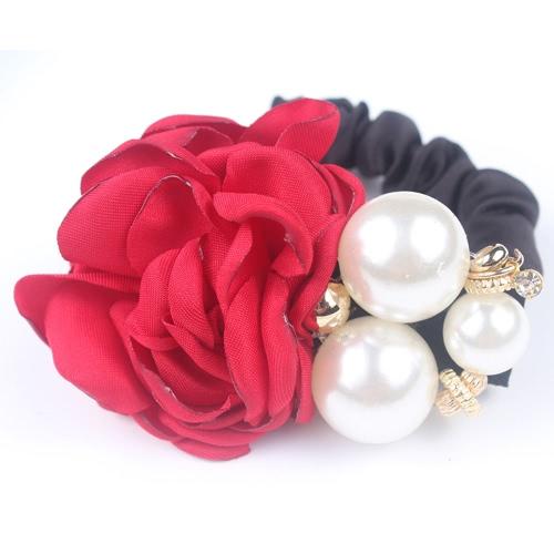 Buy Fashion Retro Simulated Pearl Beads High Elastic Hair Rope Band Korea Camellia Flower Rhinestone Crystal Tiara String Headdress Headwear Jewelry Accessories Ponytail Holder